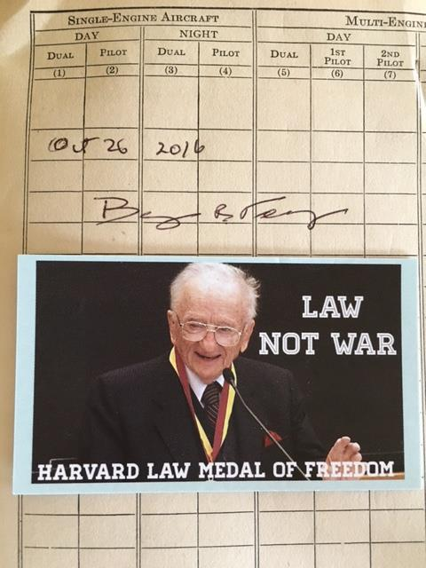 Mr Ben Ferencz signature from 2016 in The Log Book.
