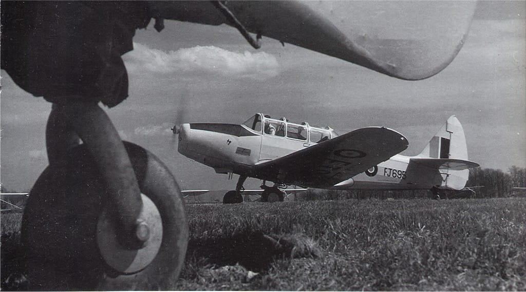 Cyril Devaux's first flight was in Cornell FJ695 - here pictured at an unknown date and location.