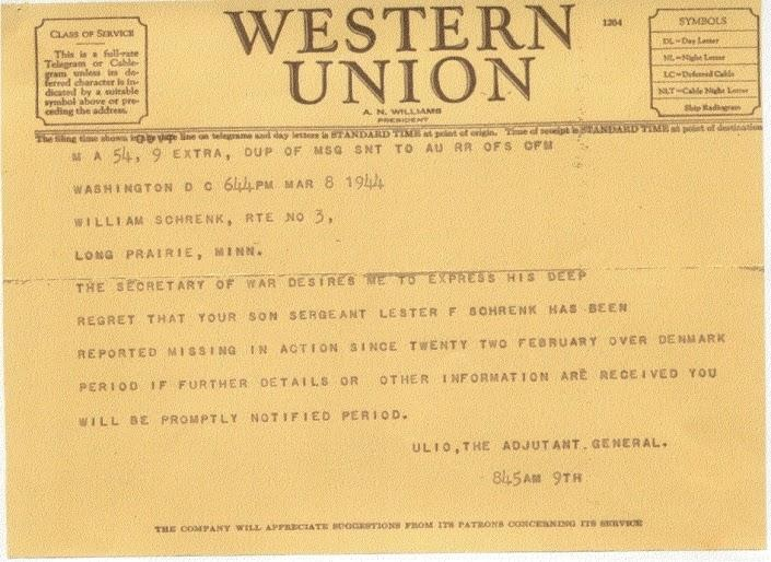 The telegram as sent to Schrenks parents advising of him being missing in action.