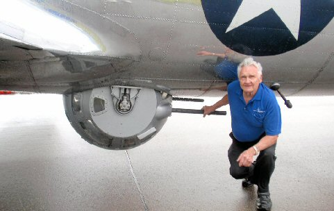 Lester Schrenk with his old position - the ball turret.